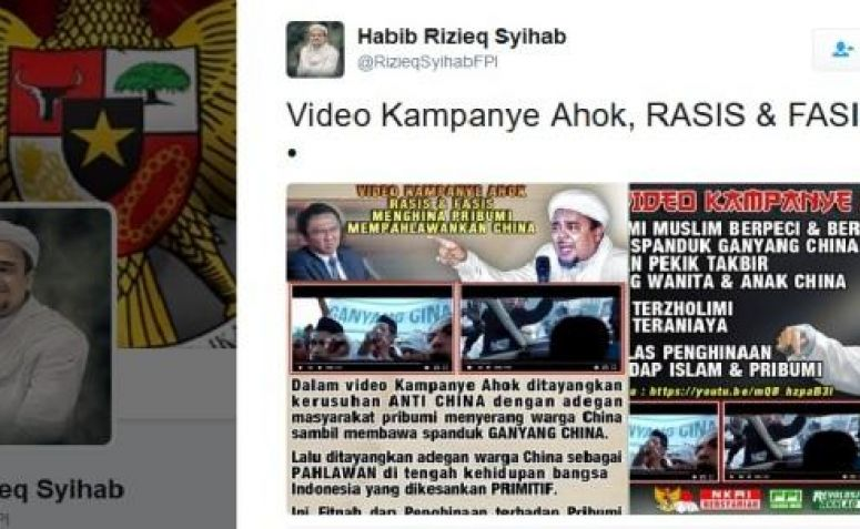 Habib Rizieq: Video Kampanye Ahok Rasis dan Fasis!