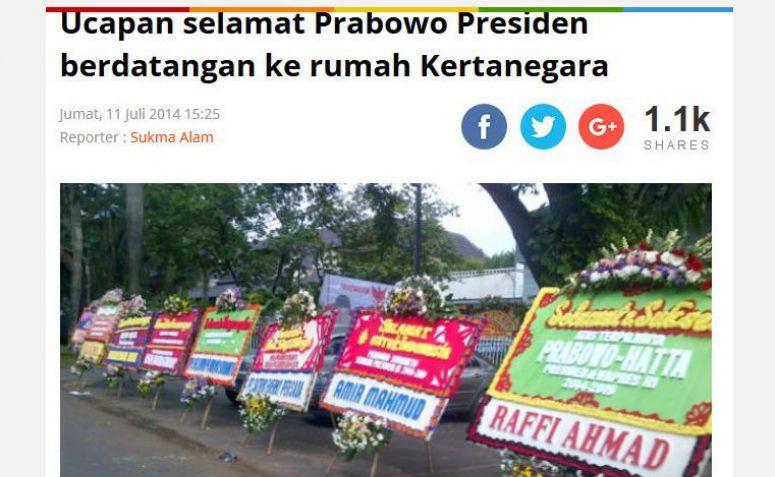 Karangan bunga untuk Prabowo pada Pilpres 2014 (twitter @gunromli)
