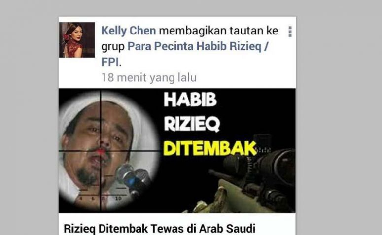 screenshot postingan Kelly Chen tentang Habib Rizieq