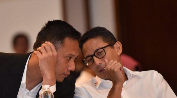 Hasil gambar untuk agus harimurti yudhoyono bertemu dengan sandiaga uno