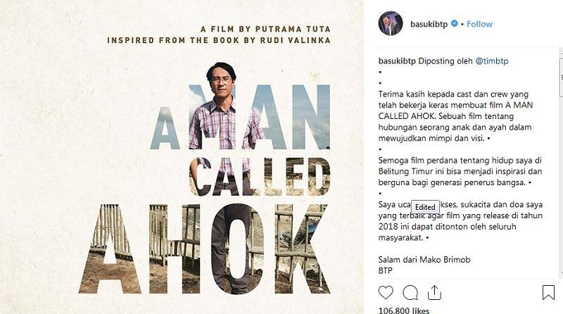 Kisah hidup Ahok diangkat ke layar lebar dengan judul 'A Man Called Ahok'.