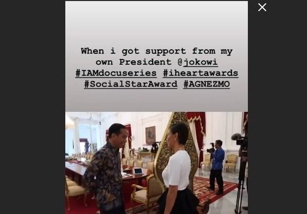 Penyanyi Agnes Monica bertemu dengan Presiden Joko Widodo