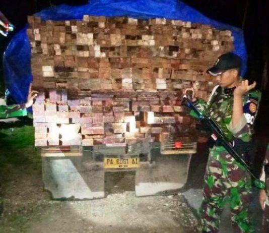 Satgas Pamtas RI-PNG  Amankan 170 Batang Kayu Ilegal di Papua