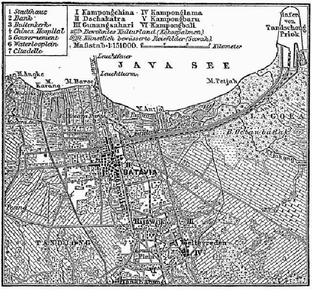 Peta Batavia tahun 1818. (wikipedia)